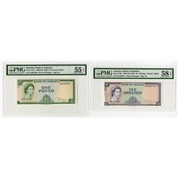 Bank of Jamaica, 1960 (ND 1964) Issue Banknote Pair.