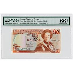 """States of Jersey, ND (1993) Low Serial Number """"JC 000156"""" Issue Banknote."""