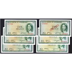 Grand Duche de Luxembourg, 1954 Issue, Group of 5 Issued & 1 Specimen Banknotes