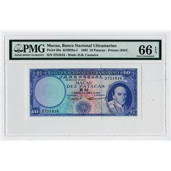 Macau, Banco Nacional Ultramarino, 1963 High Grade Banknote.