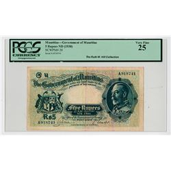 Government of Mauritius, ND (1930) Issue Banknote.
