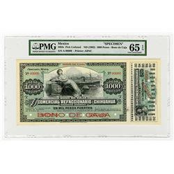 Bono De Caja, El Banco Comercial Refaccionario De Chihuahua ND (1902) Specimen Banknote.