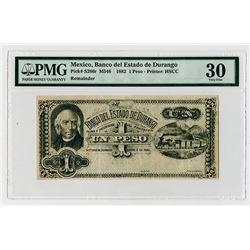 Banco del Estado de Durango, 1882 Remainder Banknote Rarity.