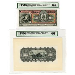 Banco de Jalisco  19xx (ca. 1910-11) Proof Face & Back Pair.