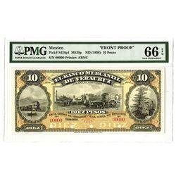 Banco Mercantil de Veracruz, ND (1898)Proof Banknote.