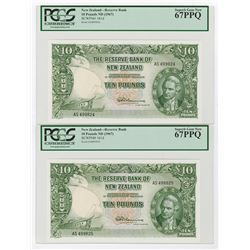Reserve Bank of New Zealand, ND (1967) High Grade Sequential Pair.