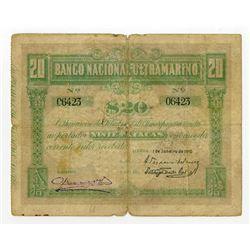 Banco Nacional Ultramarino. 1910. Rare First Issue Note.