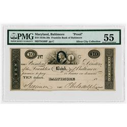 Franklin Bank of Baltimore ca.1820-30's Obsolete Proof.