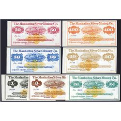 "Manhattan Silver Mining Co., 187x ""Merchantable Silver"" Imprinted Revenue Issue Set of 7 Notes."