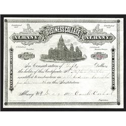 Albany Business College, 1885 Issued Tuition Certificate.