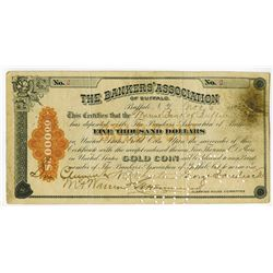 Bankers' Association of Buffalo, 1893 $5000 Gold Coin Clearing House Certificate Low Serial #2.