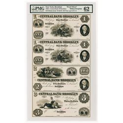 "Central Bank of Brooklyn, 1850's Uncut ""Santa Claus"" Proof Sheet of 4 Notes."