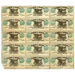 James C. Knox, 1862 Uncut Sheet of 15 Obsolete Scrip Notes.