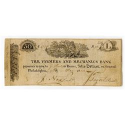 Farmers and Mechanics Bank, 1814, $50 Issued Obsolete Banknote, Haxby Plate Note.