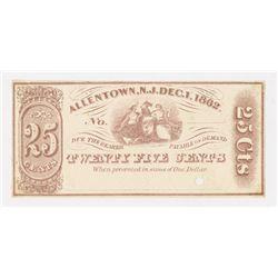 Allentown, NJ. 1862. Obsolete Note.