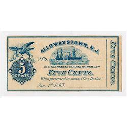 Allowaystown, NJ. 1863. Obsolete Note.