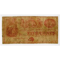 Atlantic City, NJ. Unknown Issuer. 1862. Obsolete Note.
