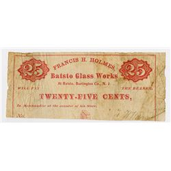 Batsto Glass Works. 1868. Obsolete Scrip Note.