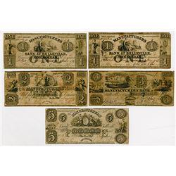 Manufacturers Bank at Belleville. 1839. Quintet of Obsolete Notes.