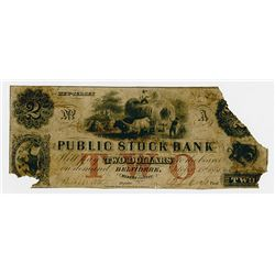 Public Stock Bank. 1851. Obsolete Note.