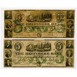 The Belvidere Bank. 1863. Pair of Obsolete Notes.