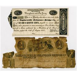 Taylorsville Delaware Bridge Co. 1840. Pair of Obsolete Notes.