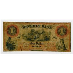 Beverly Bank. 1860. Obsolete Banknote and Haxby Plate Note.