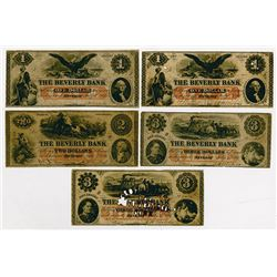 The Beverly Bank. 1861 Quintet of Obsolete Notes.