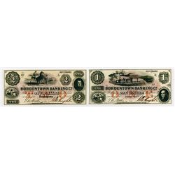 Bordentown Banking Co. 1855. Pair of Obsolete Notes.