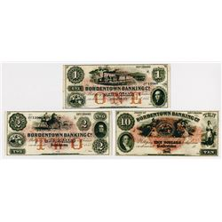 Bordentown Banking Co. 1855. Trio of Obsolete Notes.