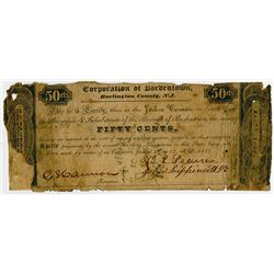 Corporation of Bordentown. 1837. Obsolete Scrip Note.