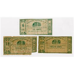 Samuel Bodine and Joseph Bodine . 1862. Trio of Obsolete Notes.