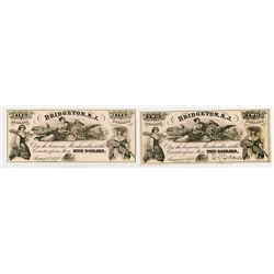 Bridgeton Glass Works. 1858. Pair of Obsolete Notes.