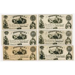 Bridgeton Glass Works. 1863. Sextet of Obsolete Notes.