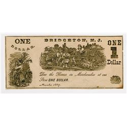 Bridgeton Glass Works. 1869. Obsolete Scrip Note.