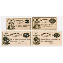 Bridgeton Glass Works. 1869. Quartet of Obsolete Notes.