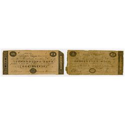Cumberland Bank. 1839. Pair of Obsolete Notes.