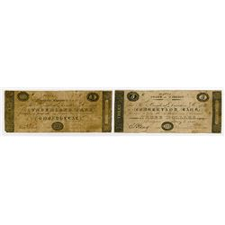 Cumberland Bank. 1840. Pair of Obsolete Notes.
