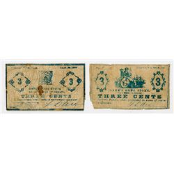Dare's Drug Store. 1863. Pair of Obsolete Scrip Notes.