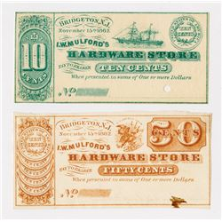 I.W.Mulford's Hardware Store. 1862. Pair of Obsolete Scrip Notes with Coins.