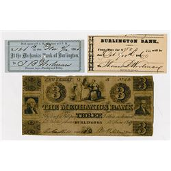 Burlington Bank & Mechanics Bank. 1847-1860. Trio of Obsolete Scrip Notes.