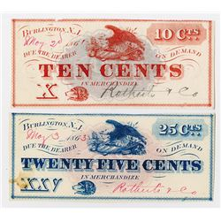 Rotherts & Co. 1863. Pair of Obsolete Notes.