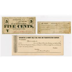 Three Burlington Items. 1862. Pair of Obsolete Notes & Stock Certificate.