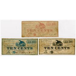 Three Issuers. 1862. Trio of Obsolete Scrip Notes.