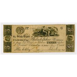 State Bank at Camden. 1862. Obsolete Note.