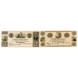 Cedarville Button Factory. 1830's. Pair of Obsolete Scrip Notes.