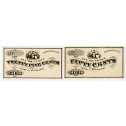 Unspecified. 1860's. Pair of Obsolete Scrip Notes.