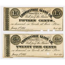 Crowleyville Glass Co. 1863. Pair of Obsolete Scrip Notes.