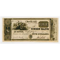 Union Bank at Dover. 1868. Partially Issued Obsolete Note.