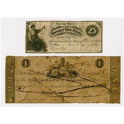 John E.Shaffer and State Bank of Elizabeth. 1824-1863. Pair of Obsolete Notes.